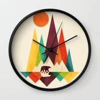 bear Wall Clocks featuring Bear In Whimsical Wild by Picomodi