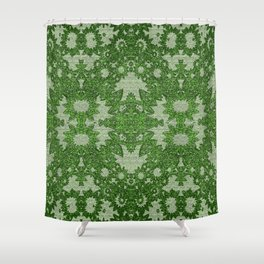 Victorian Vintage Boho Mossy Green Lace Shower Curtain