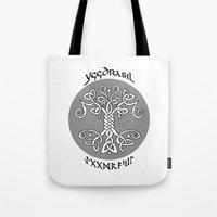 vikings Tote Bags featuring Yggdrasil, Vikings by ZsaMo Design