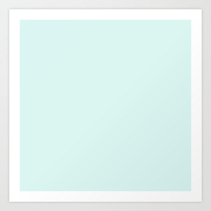 Light Cyan Soft Mint Green Solid Matte Colour Palette Art Print