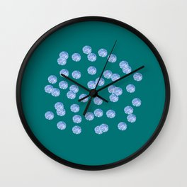 Blue Polka Dots on Dark Turquoise Wall Clock