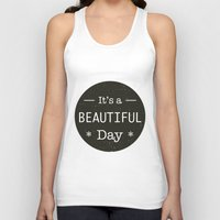 u2 Tank Tops featuring It's a beautiful day - U2 / QUEEN song title by Little Fish Creations