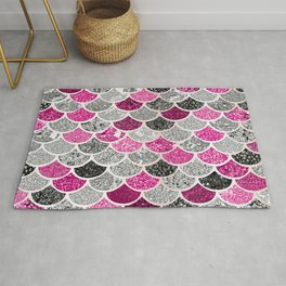Pink, Silver and Cranberry Mermaid Scales Pattern Rug