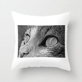 Cat Eyes In Monochrome Close Up Art Throw Pillow