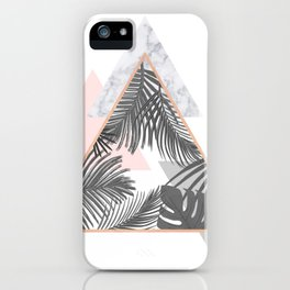 Tropical Marble Blush Pink Gray Copper iPhone Case