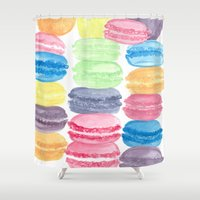 macarons Shower Curtains featuring Macarons by Christine Khoury Illustrations