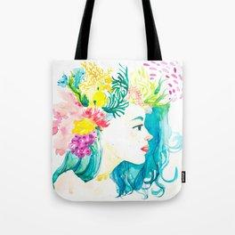 Aqua Watercolor Portrait Tote Bag