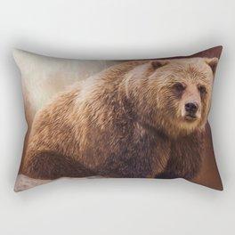 Great Strength - Grizzly Bear Art Rectangular Pillow