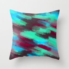 green blue red and brown painting texture abstract background Throw Pillow