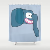 scary Shower Curtains featuring Scary Elephant by Anne-Renée Dumont