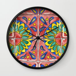 Watercolor Mexican Tile Wall Clock