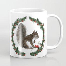 Grey Squirrel in Holiday Wreath Coffee Mug