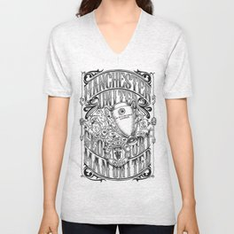 Manchester United Calligraphy and Doodles art Unisex V-Neck