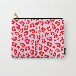 Leopard Print - Red And Pink Carry-All Pouch