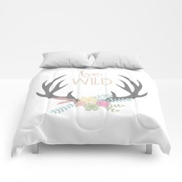 Be Brave Deer Antler Floral Wreath Comforters