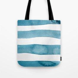 Aqua Stripes Abstract Modern Art Tote Bag