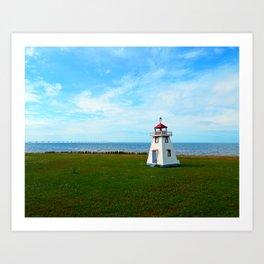Tiny Lighthouse and Giant Bridge Art Print