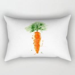 Watercolor orange carrot. Organic vegetable. Rectangular Pillow