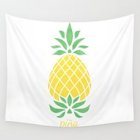 pineapple Wall Tapestries featuring Pineapple by Jacqueline Maldonado