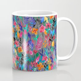 Popping Color Painted Floral on Grey Coffee Mug