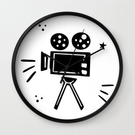 Retro movie camera illustration in doodle style. Wall Clock