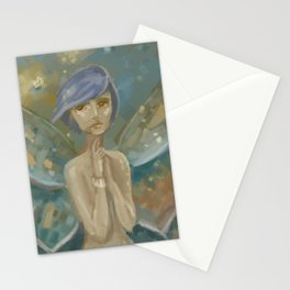 Fantasy Blue Hair Moth Stationery Cards