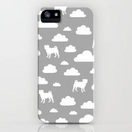 Pug Clouds - Grey iPhone Case