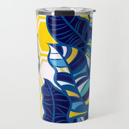 Geo Pop Foliage on Yellow & White Travel Mug
