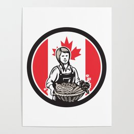 Canadian Female Organic Farmer Canada Flag Icon Poster