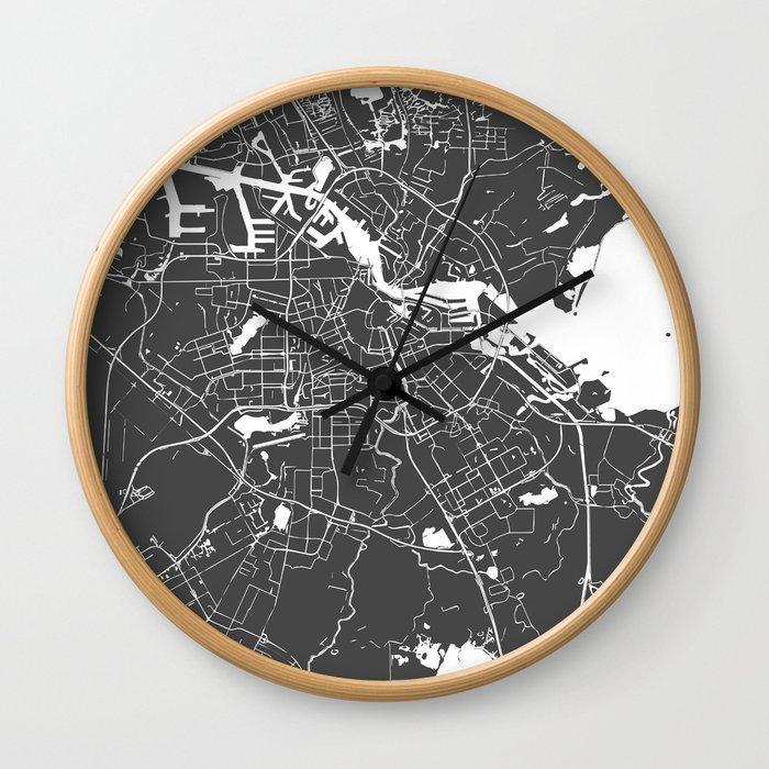 Amsterdam Gray on White Street Map Wall Clock
