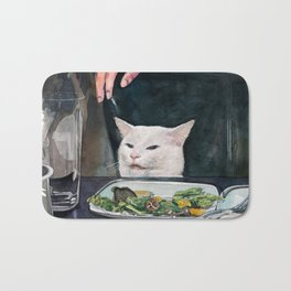 Woman Yelling at Cat Meme-2 Bath Mat