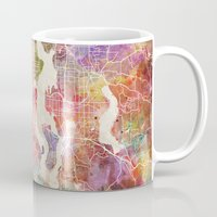 seattle Mugs featuring Seattle by MapMapMaps.Watercolors