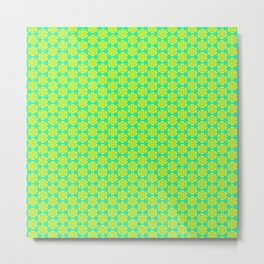 Yellow Bloom on Turquoise Mint Green Girly Feminine Country Kitchen Design Pattern Metal Print