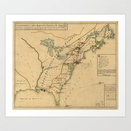 Vintage British Occupation Map of America (1765) Art Print