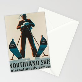 Affiche northland skis   internationally famous. circa 1938  Stationery Cards