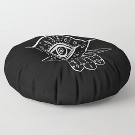 Hamsa Hand White on Black #1 #drawing #decor #art #society6 Floor Pillow