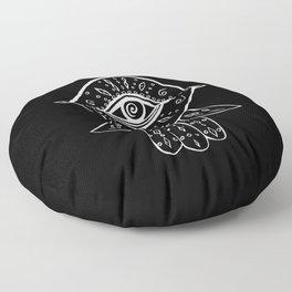 Hamsa Hand White on Black #1 #drawing #decor #art #society6 Floor Pillow