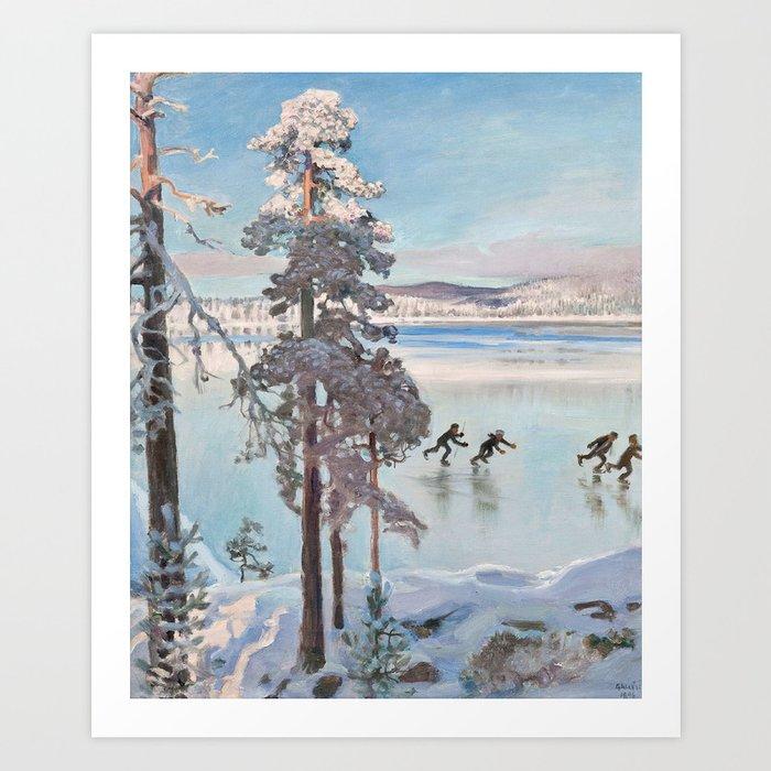 AKSELI GALLEN-KALLELA, SKATERS NEAR THE SHORE OF KALELA Art Print
