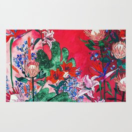 Ruby Red Floral Jungle Rug