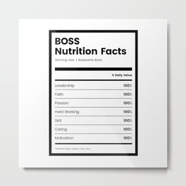 Boss Nutrition Facts Metal Print