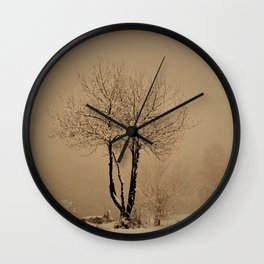 Sepia winter Wall Clock