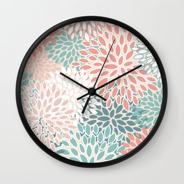 Festive, Floral Prints, Teal, Peach, Coral, Abstract Art, Colour Prints Wall Clock