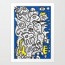 Yellow Blue Graffiti Art Doodle Black and White  Art Print