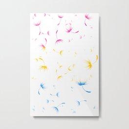 Dandelion Seeds Pansexual Pride (white background) Metal Print