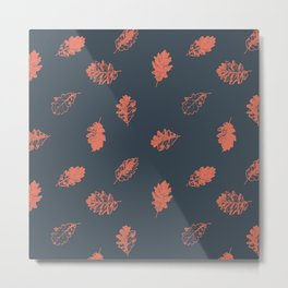 Oak leaves seamless pattern design, terracotta color leaves on charcoal background Metal Print