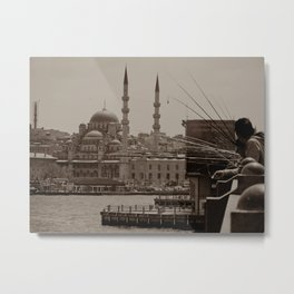 "Sultan Ahmed Mosque (""Blue Mosque"", Istanbul, TURKEY) from Galata Bridge fisherman Metal Print"