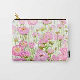 pink buttercup ranunculus field watercolor Carry-All Pouch