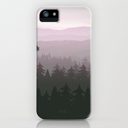 mountain forest in fog and sunrise with stars iPhone Case