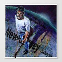 springsteen Canvas Prints featuring Springsteen spans the globe by kenmeyerjr