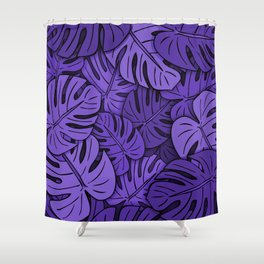 Monstera Leaves Ultraviolet Shower Curtain